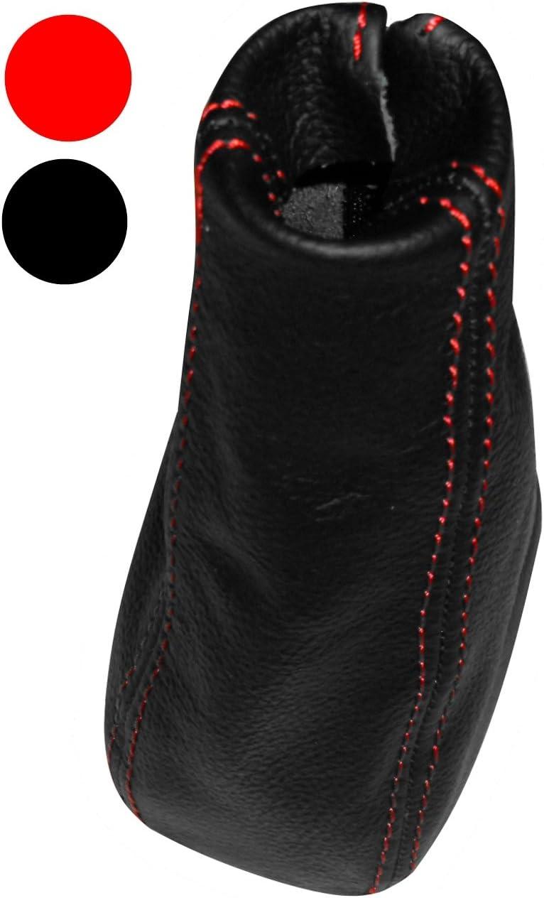 Soufflet de levier de vitesse en 100/% CUIR v/éritable noir avec coutures rouges AERZETIX