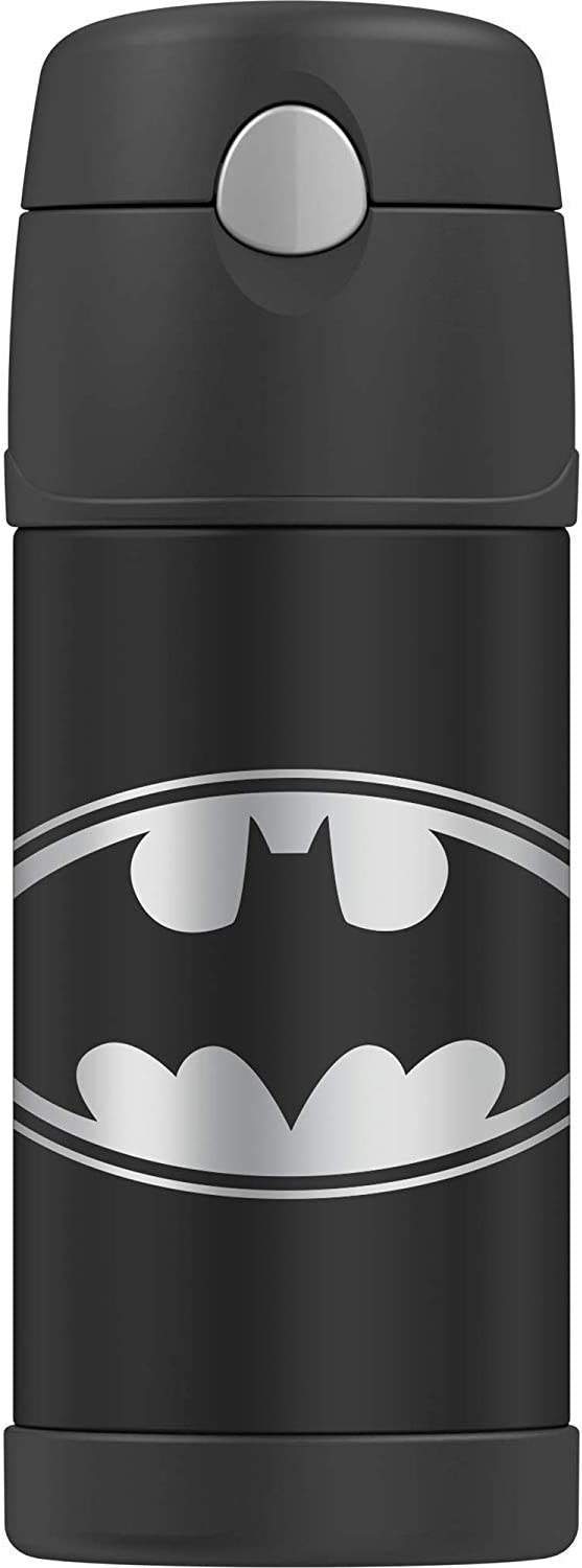 THERMOS BRAND FUNTAINER Vacuum Insulated Straw Bottle, 12-Ounce, Batman, Black