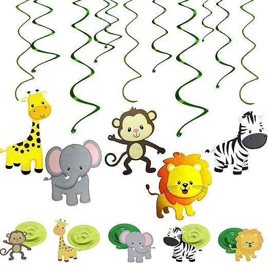 REYOK Jungle Animals Hanging Swirl Decoraciones en espiral ...