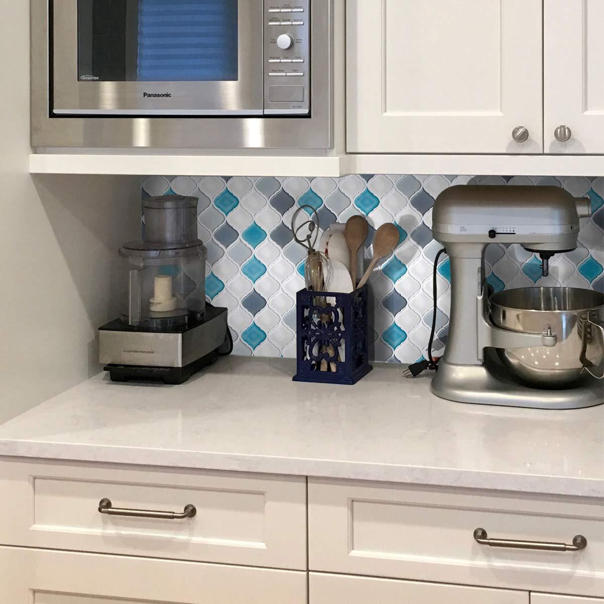 Peel and Stick Wall Tile for Kitchen Backsplash-Slant Blue&White Arabesque Tile Backsplash-Kitchen Backsplash Tiles Peel and Stick Wall Stickers,6 Sheets by FAM STICKTILES (Image #6)