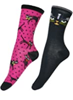 Women's Cat Theme Motif Novelty 2-Pack Crew Socks