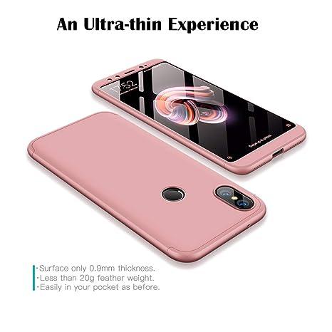 GoodcAcy Funda Xiaomi Mi A2,Carcasa Móvil de Protección de 360°+ Cristal Templado HD Protector de Pantalla 3 en 1 Desmontable con Caso Case Cover para ...
