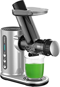 Juicer with Cleaning Brush, Could Press juicer, Slow Masticating Juicer with Large Feed Chute, Juicer Machine Easy to Clean with Juice Recipes for Vegetables and Fruits, Sliver