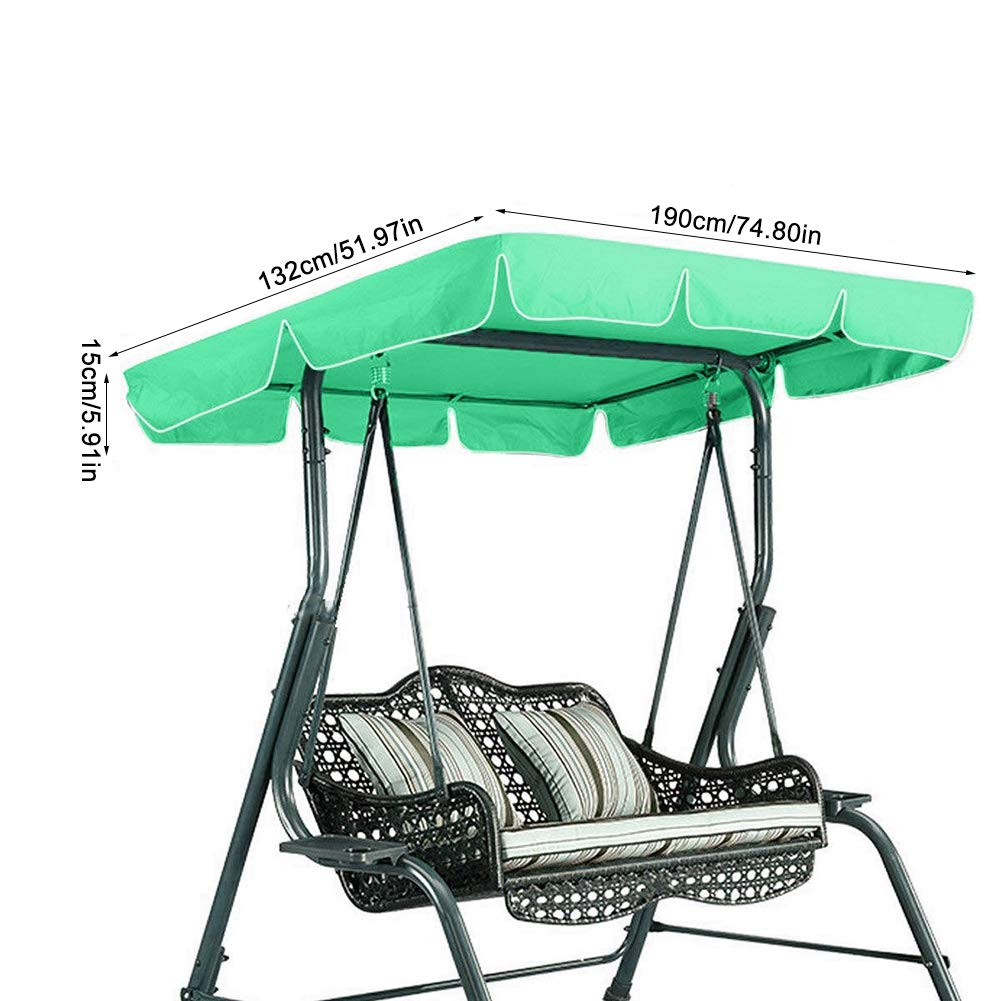 Swing Chair Seat Top Cover Waterproof Rainproof Anti-UV Dust Guard Protector Swing Canopy Top Cover Replacement for Outdoor Porch Patio Yard Garden Hammock Gray