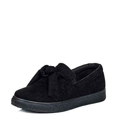 a533aa26b433a Amazon.com | Platform Bow Flat Loafer Shoes Black Suede Style Sz 5 | Loafers  & Slip-Ons