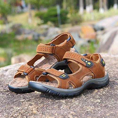 Marrone Pelle Pantofole Spiaggia Comodi Sandali Comode Uomo in da Esterni Comode e Sandali da YTTY 46qnR