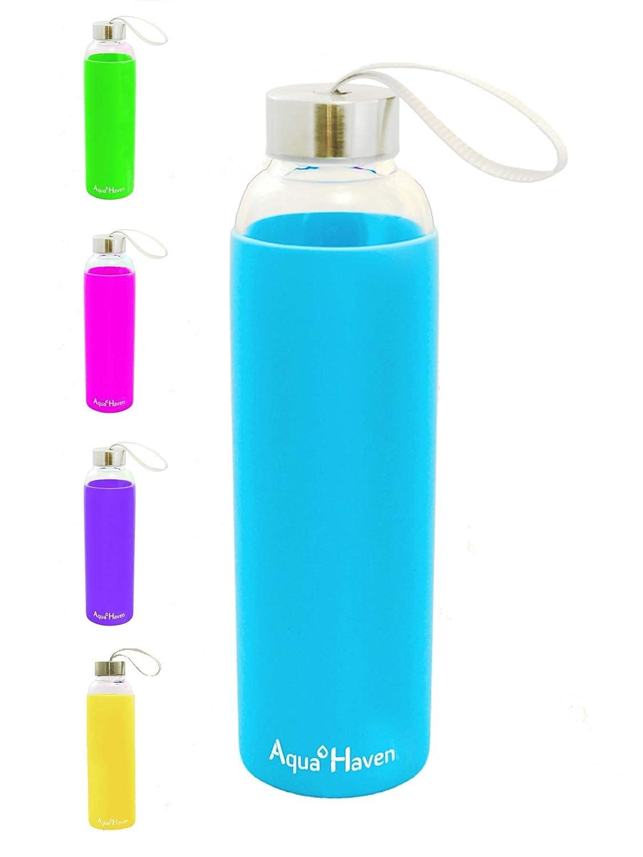 AquaHaven ガラスウォーターボトル BPAフリー 断熱シリコンスリーブ ステンレススチール蓋 スリム17オンス 500ml 安全 100% 無毒性 再利用可能 環境に優しい 旅行 ジム アクティブ 母 子供 ファミリー B07D7GWDP9 グリーン