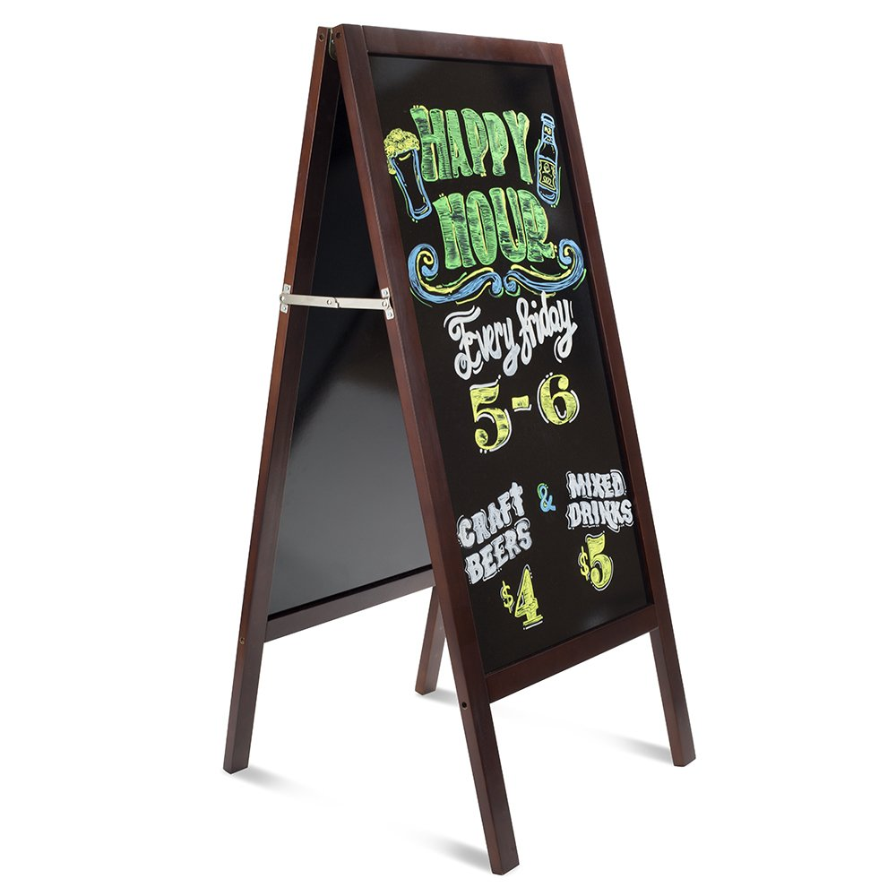 Large, Heavy-Duty A-Frame Outdoor Sidewalk Board. Business Sign with Large Glossy Writing Surface. Double Sided Melamine Menu/Sandwich Board with Nice Mahogany Wood Finish. Uses Liquid Markers only