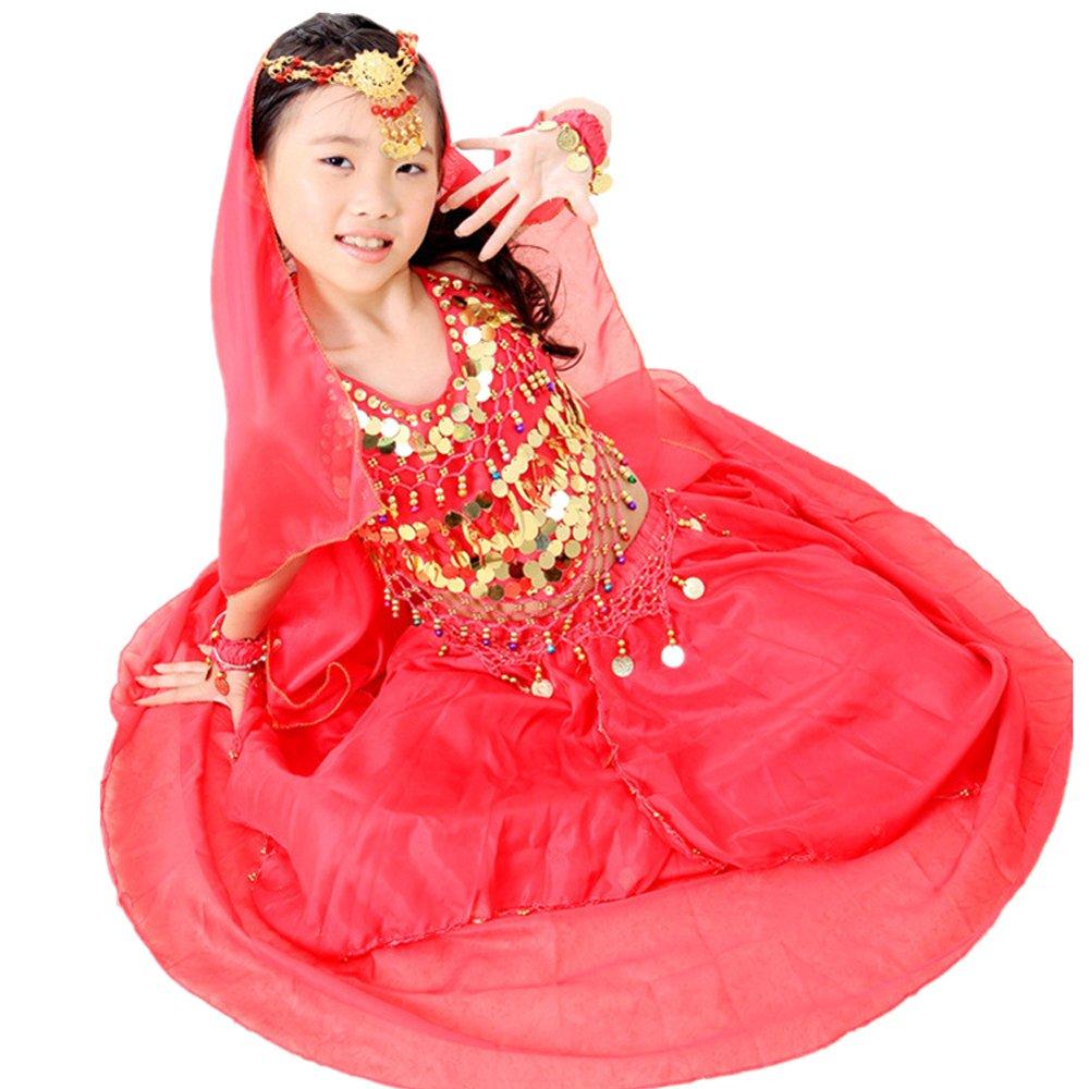 BOZEVON Bambini Elegante Danza del Ventre Costume Set Outfit Set di Cinque Pezzi