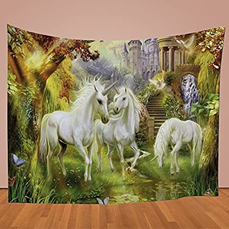 Kentop Tapisserie Mandala Tapisserie Murale Color/é Licorne Tapisserie Nappe Serviette de Plage Tapis de Yoga Couvre Lit pour Maison Pique-Nique Plage Sheet Coverlet Nappe 1PCS Style 1