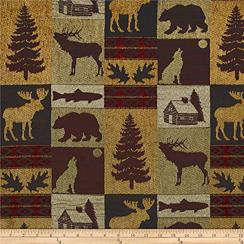 Regal Fabrics Fairbanks Cabin Patch Chenille Jacquard Fabric, Evergreen (Imports Fairbanks)