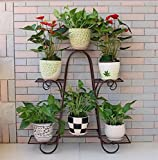 European style multi storey flower rack green balcony living room flower pots (high 73cm length 76cm width 23cm) ( Color : Gray )