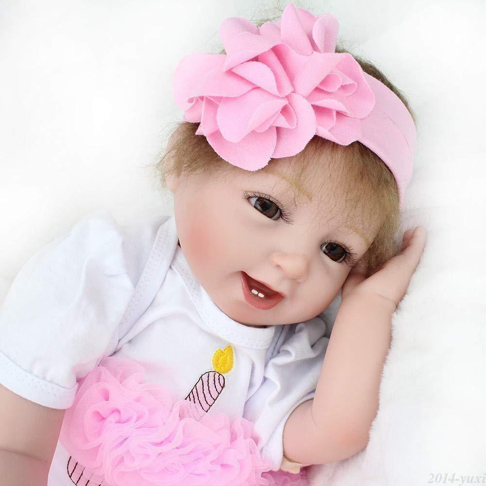 Kaydora 22 inch Realistic Reborn Baby Dolls Handmade Reborn Girl Silicone Newborn Smiling Girl Doll with Princess Dress Hair Wigs