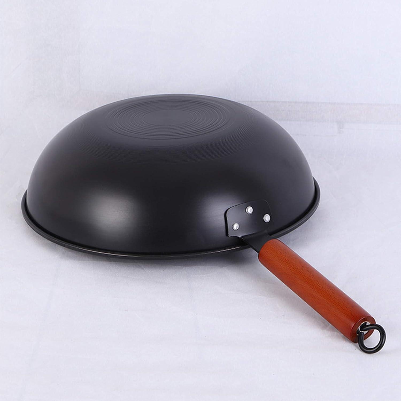 Light Weight Cast Iron Wok with Glass Lid 12.6 Diameter Chinese Wok