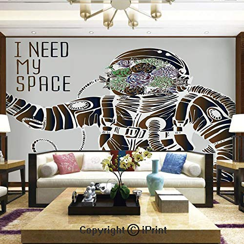 (Mural Wall Art Photo Decor Wall Mural for Living Room or Bedroom,Funny Love Quote with a Floral Head Cosmonaut Pilot Man Humor Illustration,Home Decor - 100x144 inches)