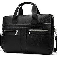 Men's Shoulder Bag, Popoti Leather Handbag Bag Briefcase Grand Laptop Bag School Bag Multifunctional Vintage Crossbody Messenger Bag (36X7X27CM, Black)