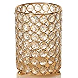 VINCIGANT Gold Pillar Candle Holder High, Metal. Ideal for Wedding, Thanksgiving Christmas Decoration, Home/Office, Aromatherapy, Reiki, Candle Garden, Vase/Floral 6.3 Inches Tall