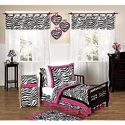Funky Zebra and Hot Pink Toddler Bedding 5 Piece Girls Set