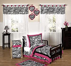 Funky Zebra and Hot Pink Toddler Bedding 5 pc Set