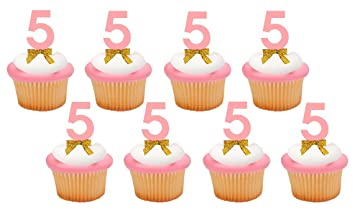 Hand Crafted Birthday Anniversary Cupcake Food Appetizer Decorations Fifth 5th Number 5