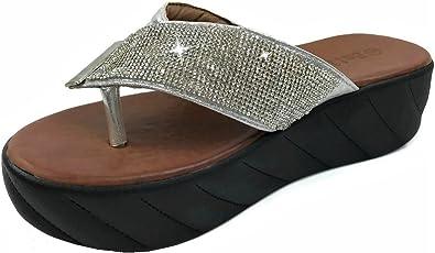 Emiledi Para Mujer Plataforma Rhinestone Sandalias Flip Flop Con Correas De Diseño Duo Plateado 11 B M Us Shoes