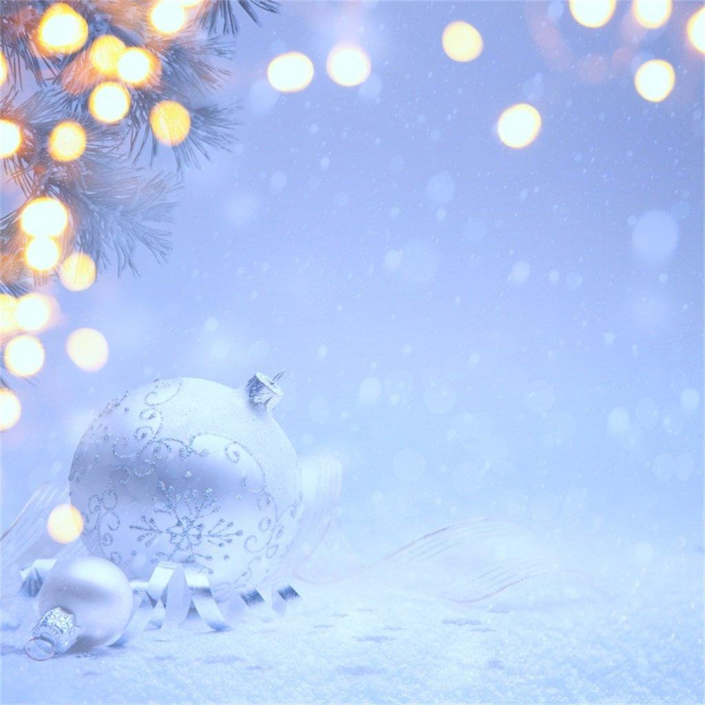aofoto 10 x 10ftクリスマススノーフレーク写真背景クリスマスボールBackdrops New Year Holiday Decorationベビー乳児新生児キッズガールズArtistic Portrait Photoshoot Studio Propsビデオドレープ壁紙   B0771P471D
