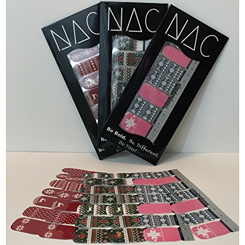Ugly Christmas Sweater - 3 Pack (42 Total Nail Art Wraps) Series 2 for Easy Nail Art and Pretty Nails