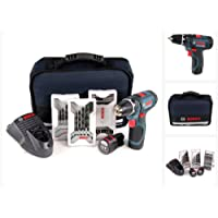 Bosch 0.601.868.109 Professional GSR 12v-15–2-Li Kit perceuse-visseuse sans fil 12V avec 39 accessoires et 2 batteries (1,5Ah)