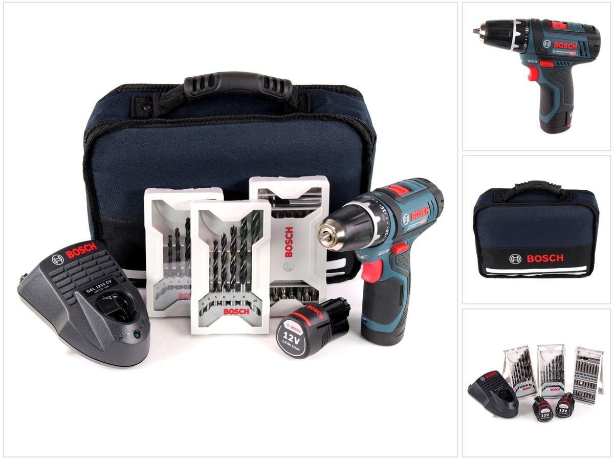 Bosch 0.601.868.109 Professional GSR 12v-15–2-Li Kit perceuse-visseuse sans fil 12V avec 39 accessoires et 2 batteries (1,5Ah) product image