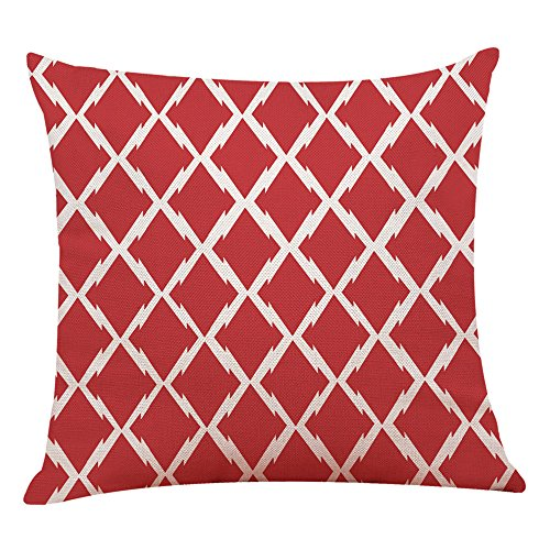 GOVOW Clearance!Silk Pillowcase for Hair and Skin Home Decor Cushion Cover Red Geometric Throw