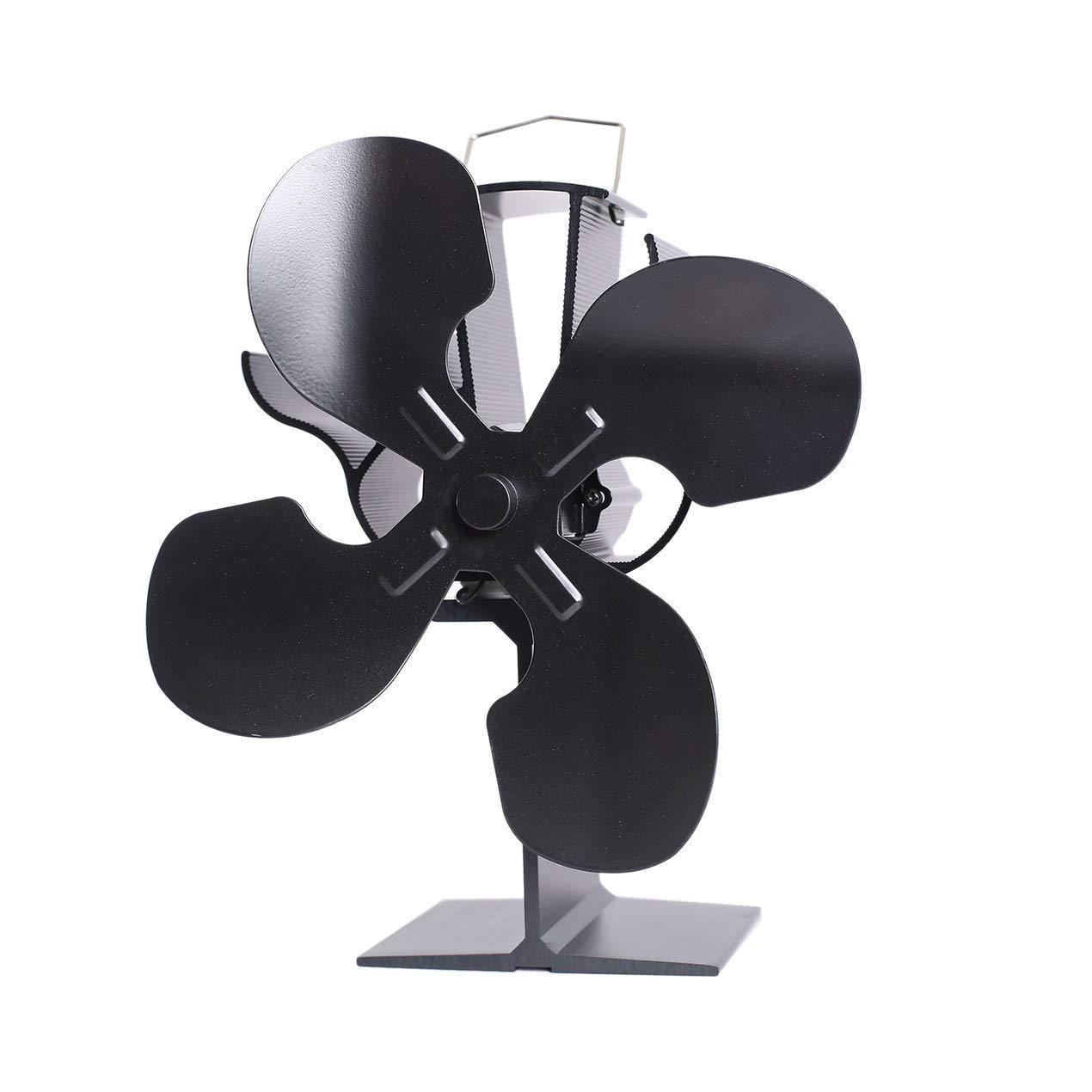 4 Blade Heat Powered Wood Stove Eco Fan Temperature Gauge - Ultra Quiet Fireplace Wood Burning Fan Efficient Heat Distribution