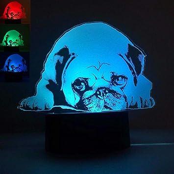 Amazon.com: 3d Sharpei perro carlino luz de noche mesa ...