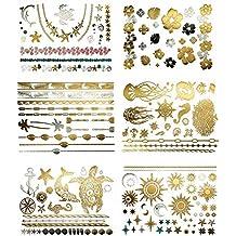 Tropical Hawaiian Temporary Metallic Tattoos - Over 75 Tattoos in Gold Silver (6 Sheets) Terra Tattoos Aja Collection