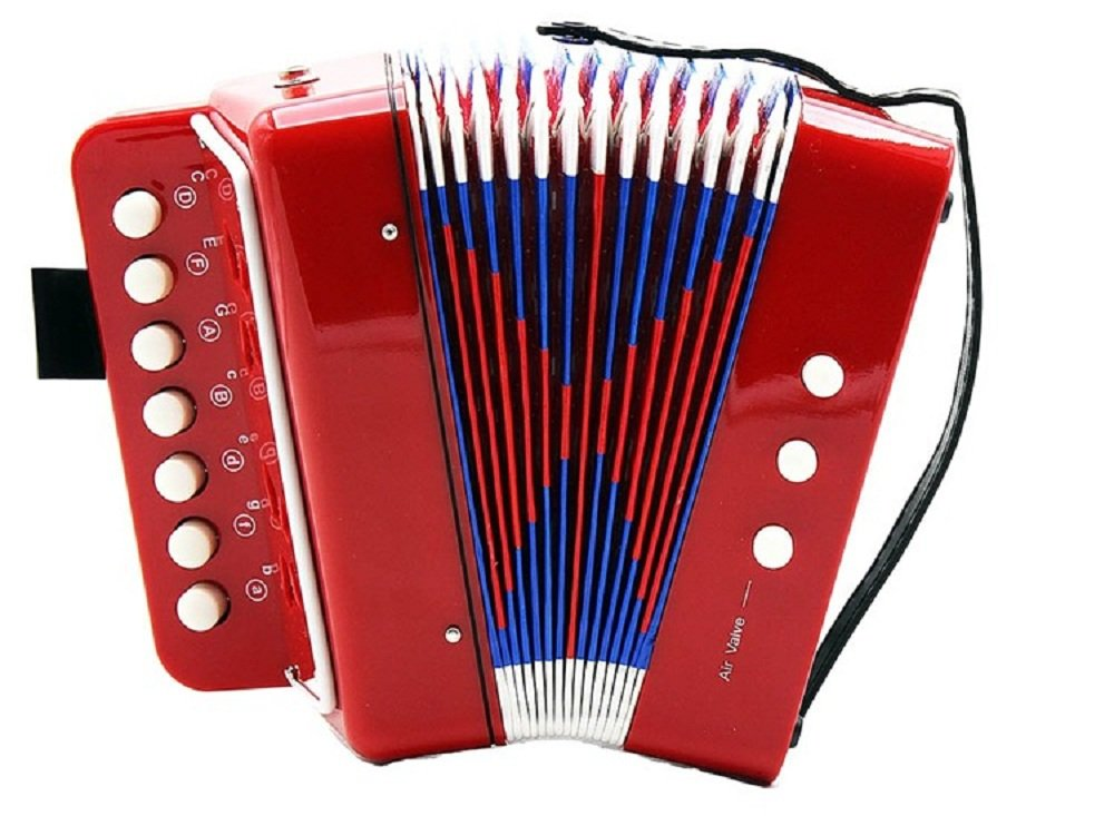 7 Keys 2 Bass Children's Toy Button Accordion Musical Instrument - Blue amorus