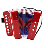 7 Keys 2 Bass Children's Toy Button Accordion Musical Instrument - Red