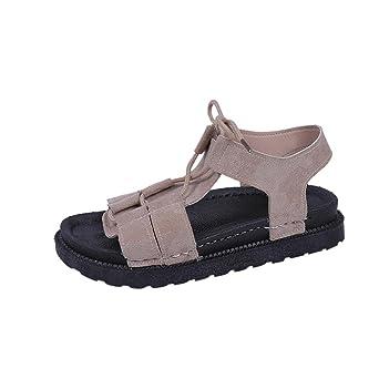 sports shoes 29cc8 ea495 Damen SandalenSannysis Frauen Rom Binden Sandalen Sommer Strand Sandalen  Flache Schuhe Offene Spitze Rutschfeste... - associate-degree.de