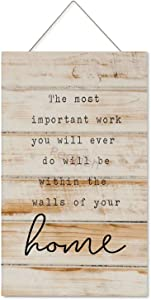 Pealrich Wood Sign, The Most Important Work You Will Ever Do Harold B. Lee Wooden Wall Art Signs Rustic Print, Farmhouse Entryway Signs for Bedroom Living Room Office Decor, 8x12 Inch