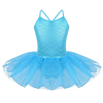 MSemis Kids Girls Mermaid Princess Tutu Dress Fish Scale Criss Cross Back Leotard Athletic Dancewear: Clothing
