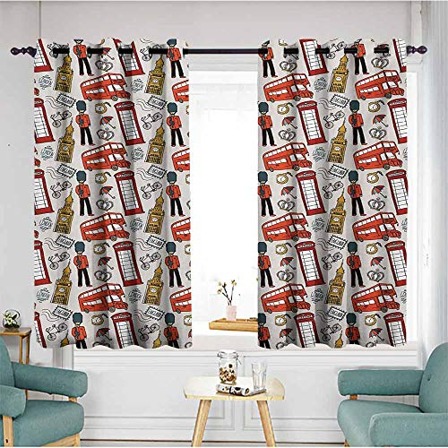 AndyTours Window Curtain Panel,London Doodle English for sale  Delivered anywhere in Canada