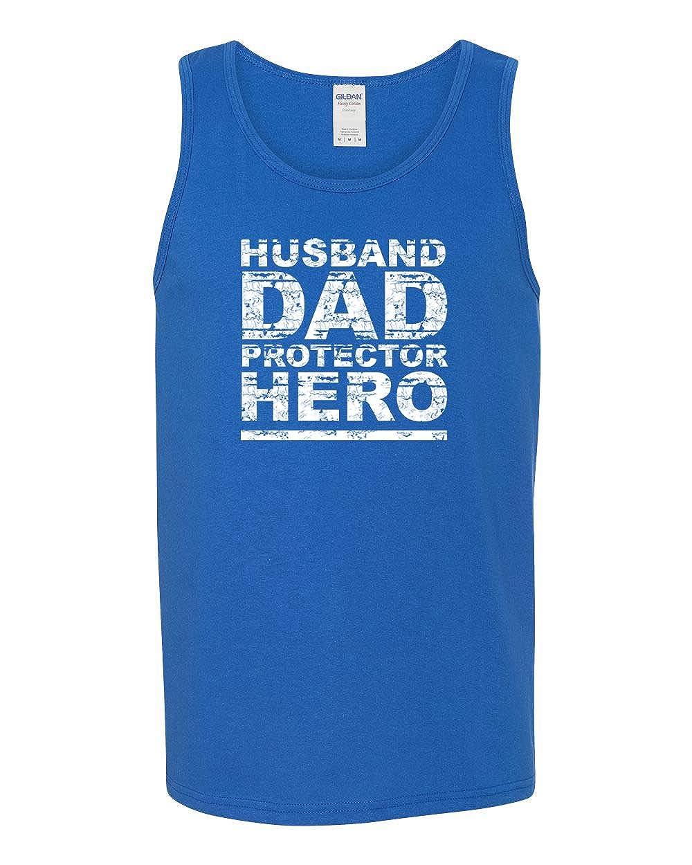 Mens Fashion Graphic Tank Top Husband Dad Protector Hero Idea