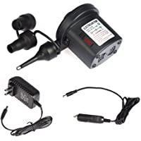 Electric Air Pump 110V AC/12V DC 2 Way Quick-Fill Air Beds Pump Attachments with 3 Nozzles for Inflatables Air Bed Mattress Float Pool Toy Flow, Black