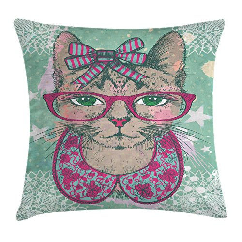 Ambesonne Cat Decor Throw Pillow Cushion Cover, Fashion Cat in Hipster Glasses and Lace Collarette Bow Vintage Humor Graphic, Decorative Square Accent Pillow Case, 18 X 18 Inches, Pink Mint (Lace Square Dance)