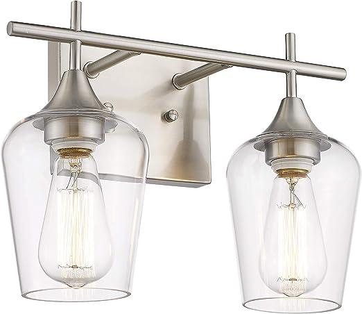 Osimir Bathroom Light Fixtures-Modern Farmhouse 2 Light Vanity Fixture - Bathroom Light in Satin Nickel Finish - Clear Glass Shade, 15