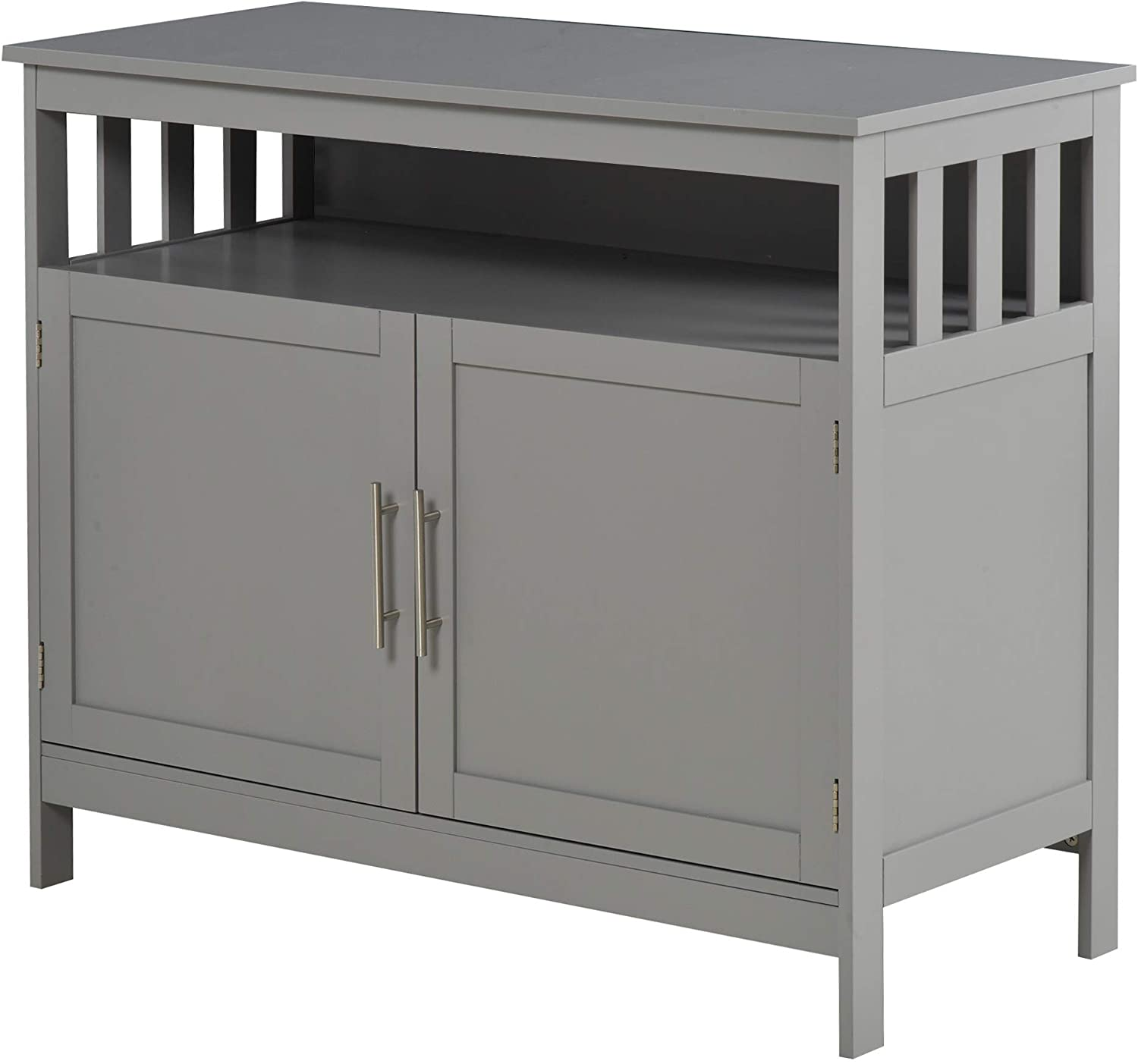 HOMCOM Kitchen Console Table, Buffet Sideboard, Wooden Storage Table with 2-Level Cabinet and Open Space, Grey