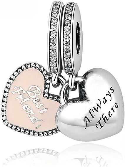Bamoer européens rose émail crème glacée S925 Argent Sterling Charms fit Bracelets