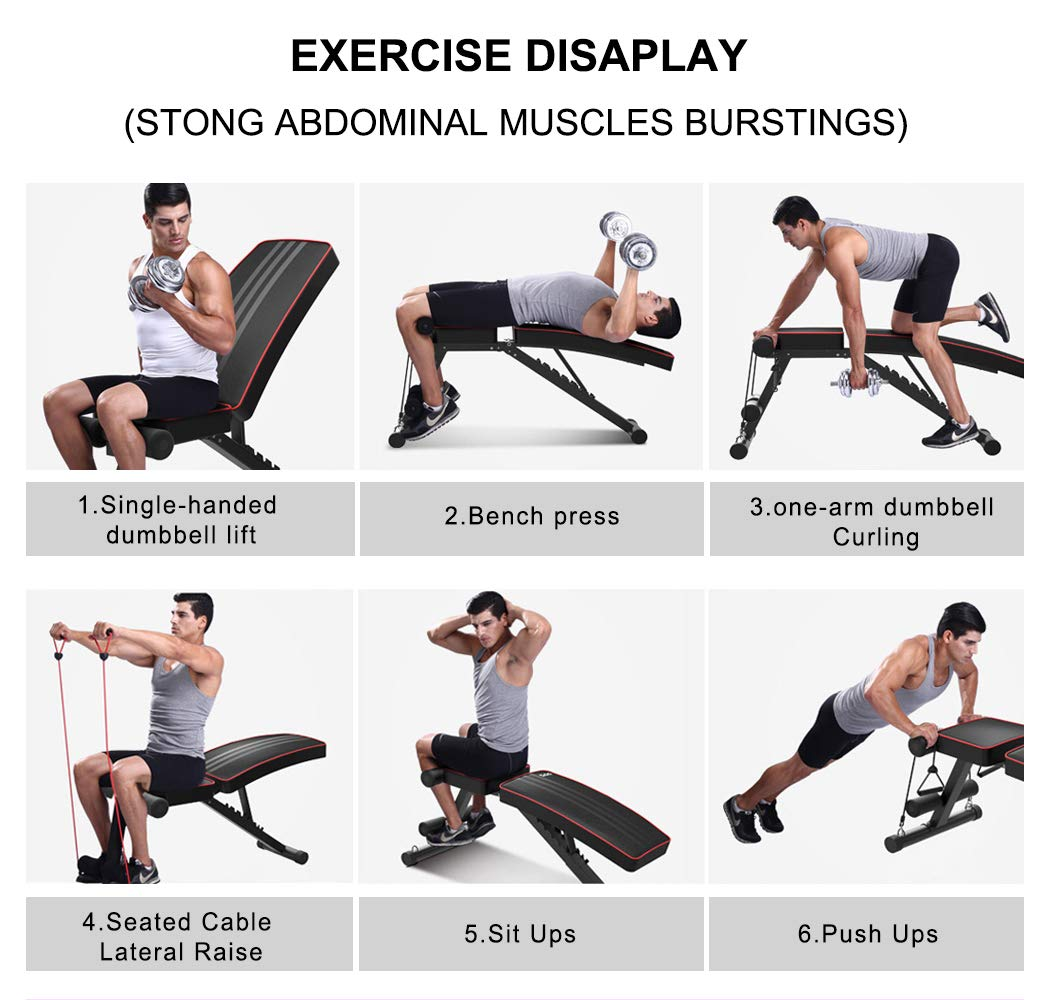Yoleo Adjustable Weight Bench - Utility Weight Benches for Full Body Workout, Foldable Incline/Decline Bench Press for Home Gym by Yoleo (Image #6)