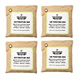 Image of 4 Pack - California Home 200g Activated Bamboo Charcoal Deodorizer Natural, Air Purifying Bags, Dehumidifier, Allergy-Free Filters, Odor Neutralizer for Home, Shoes, Car, Natural Colored