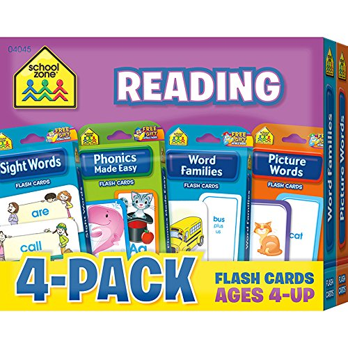 School Zone - Reading Flash Cards 4-Pack - Ages 4 and Up, Short and Long Vowel Sounds, Combination Sounds, Rhyming, and More (Flash Card 4-pk)
