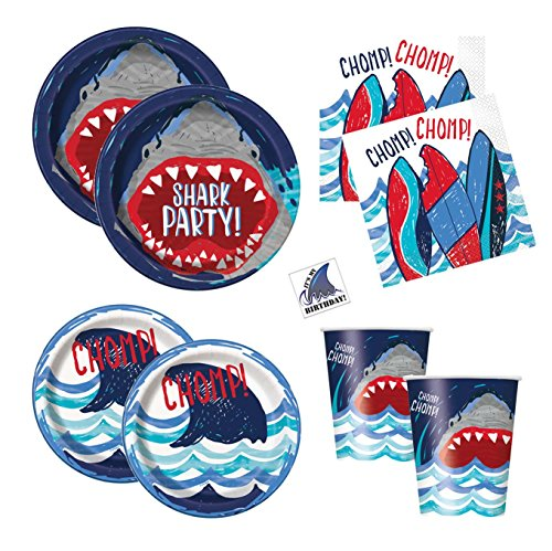 Shark Theme Party Supplies - Plates, Cups, Napkins - Boys Pool or Birthday Party Supplies (Standard - Serves 16) ()