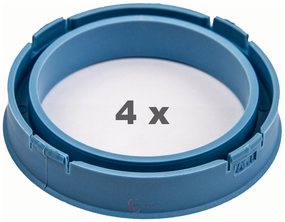 4 x Zentrierringe 73.1mm auf 56.6 mm hellblau/lightblue Pneugo
